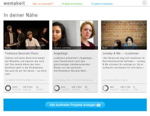 Die führende Crowdfunding-Plattform in der Schweiz für kulturelle Projekte: Wemakeit.