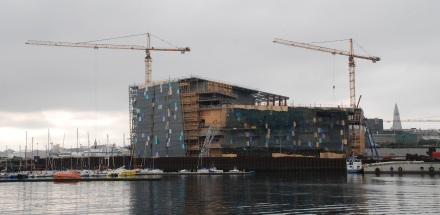 Symbol für Islands Krise: Der Baustopp für die Harpa - heute gilt das Konzerthaus in Reykjavík zu einem der weltbesten.