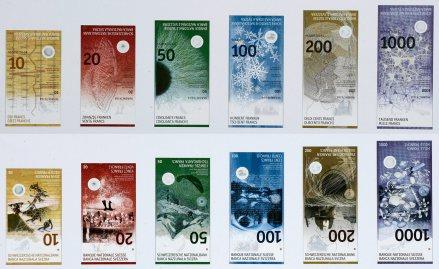 Die neue Schweizer Banknotenserie, gestaltet von Manuela Pfrunder - der Herausgabetermin steht noch immer in den Sternen. (Bild SNB)